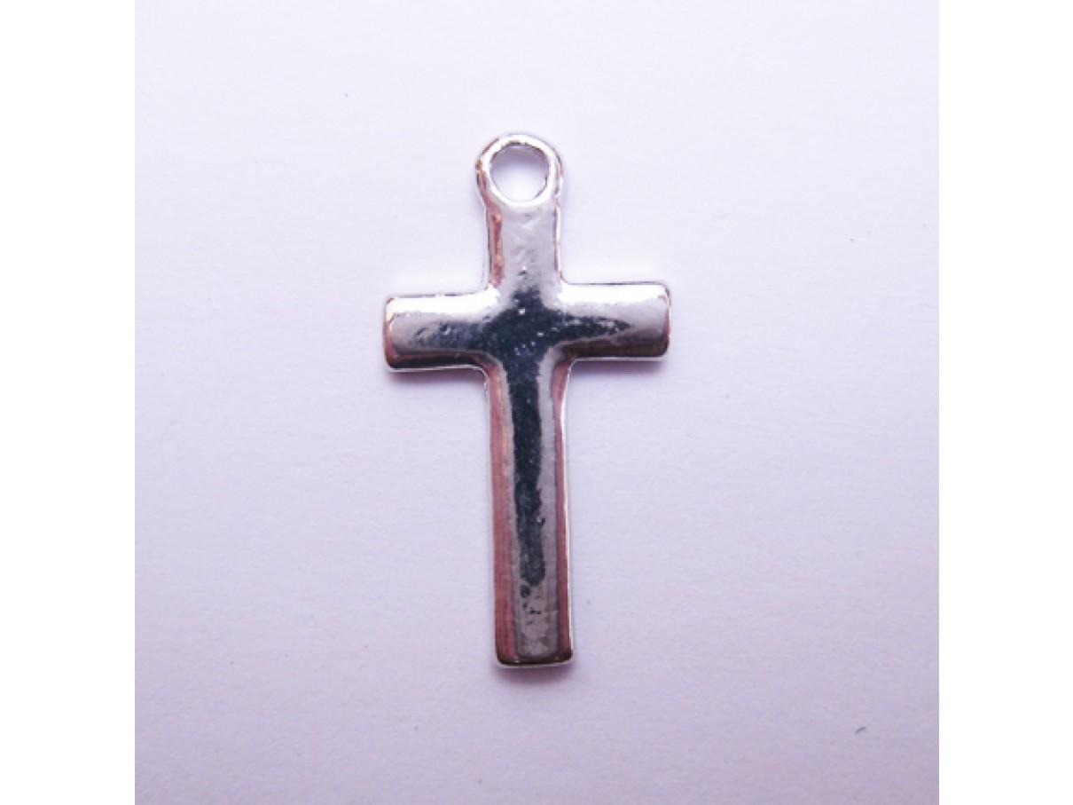 Sølvbelagt kors vedhæng, 10 stk