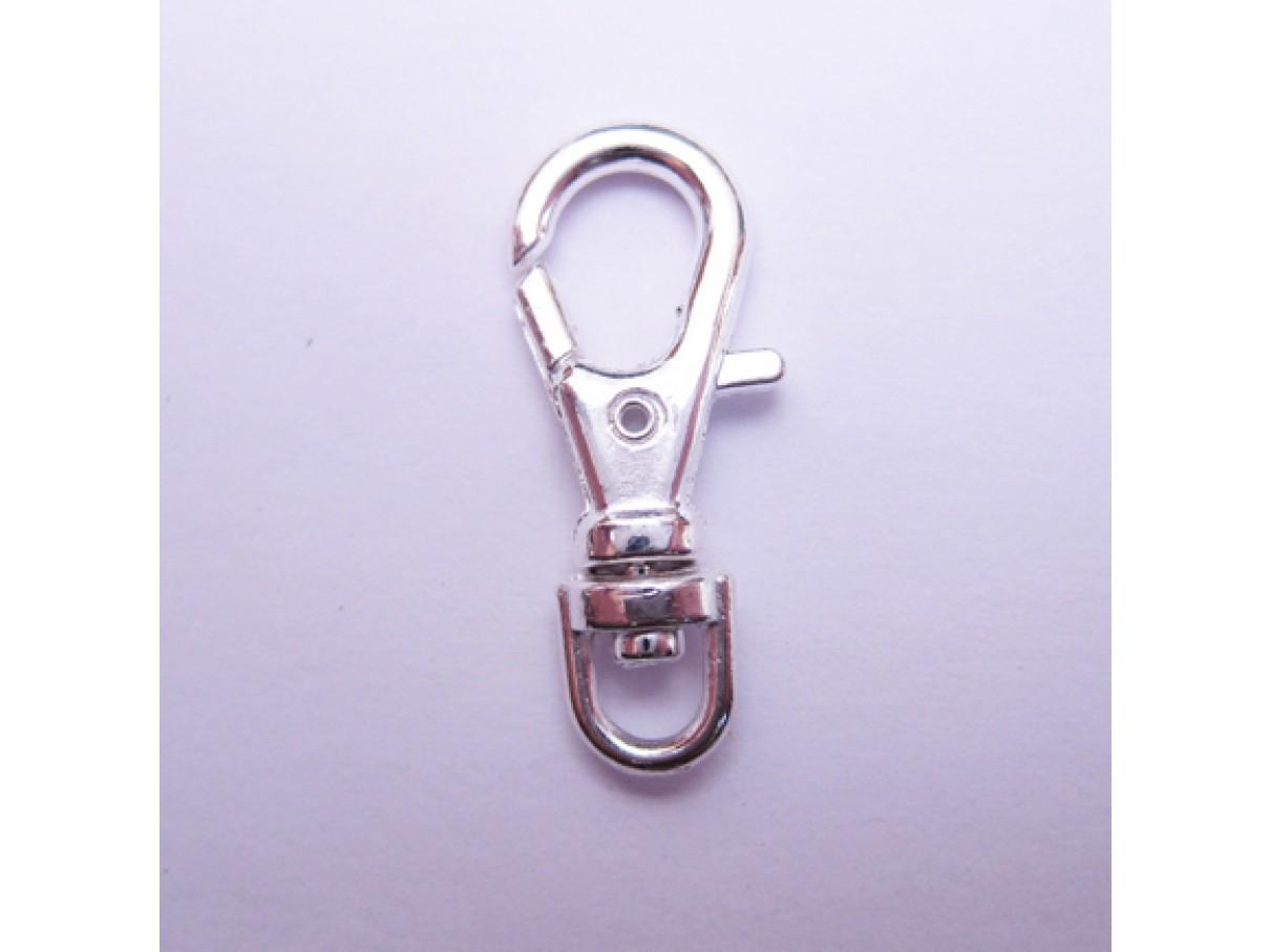 Sølvbelagt karabinhage 23x10mm