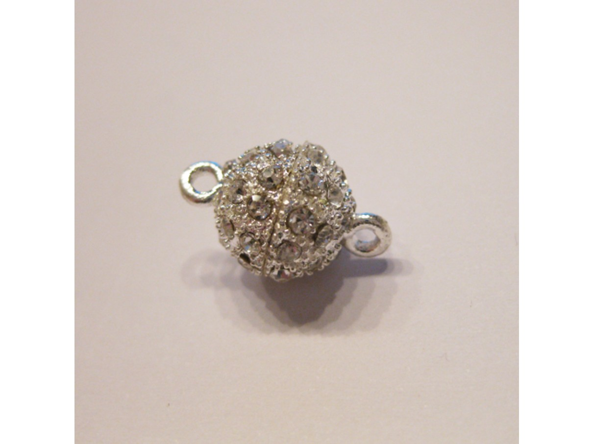 10mm rund magnetlås med rhinsten, søvbelagt