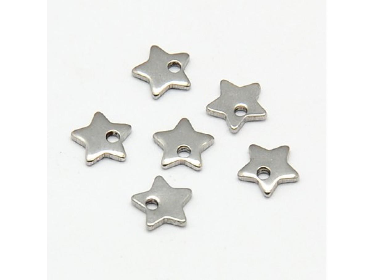 6mm Stjerne vedhæng i rustfrit stål, 10 stk