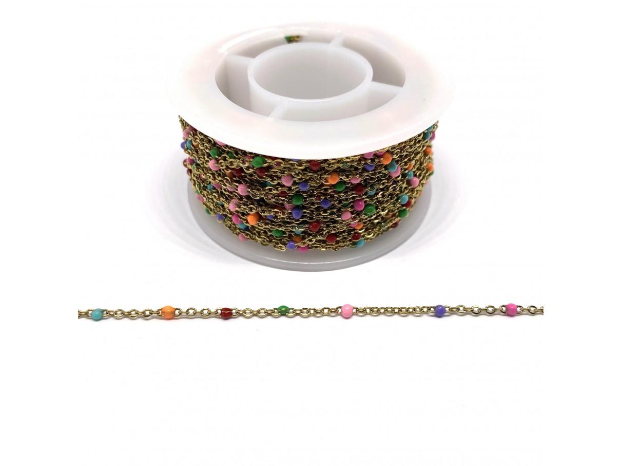 Guldfarvet stål kæde med farvede emalje kugler, 2x1,5x0,5mm, 50cm