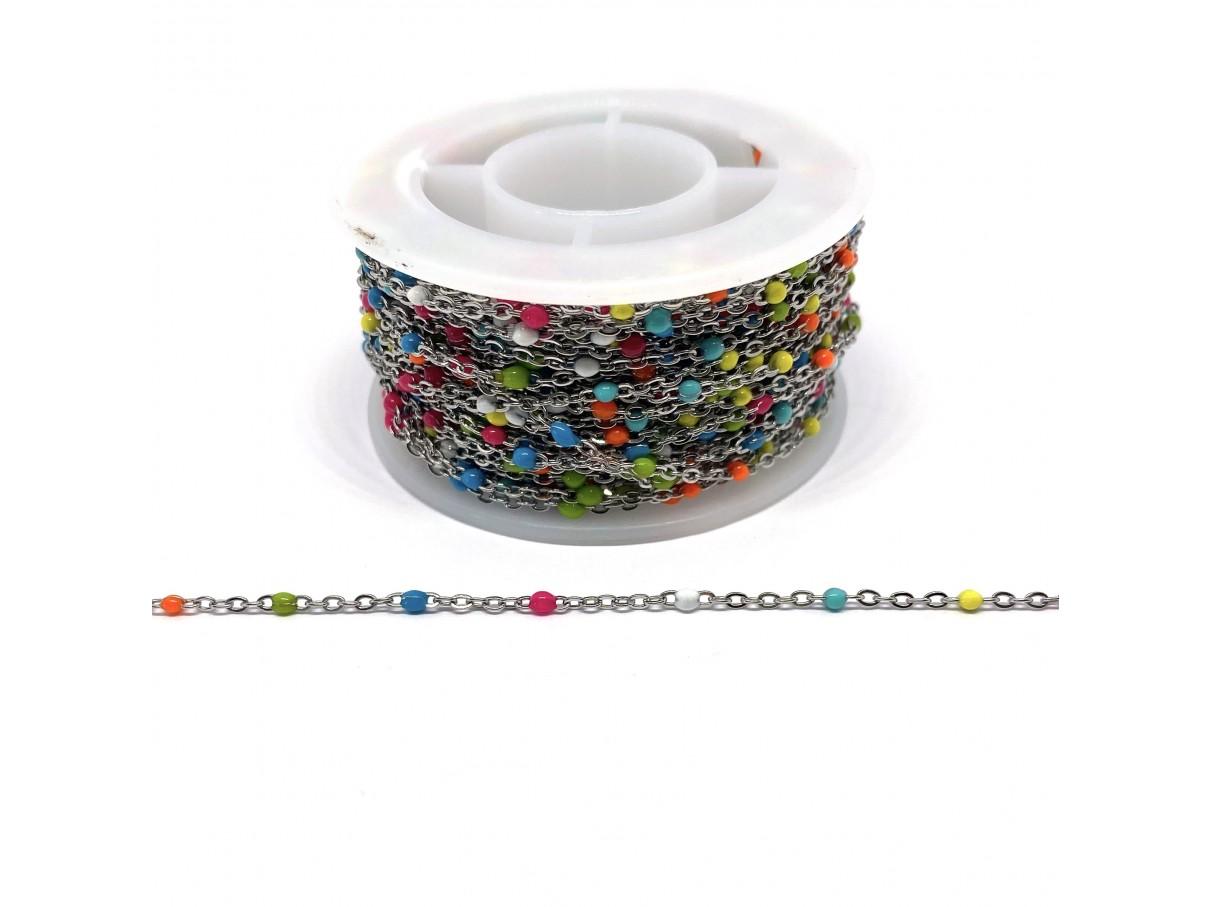 Stål kæde med farvede emalje kugler, 2x1,5x0,5mm, 50cm