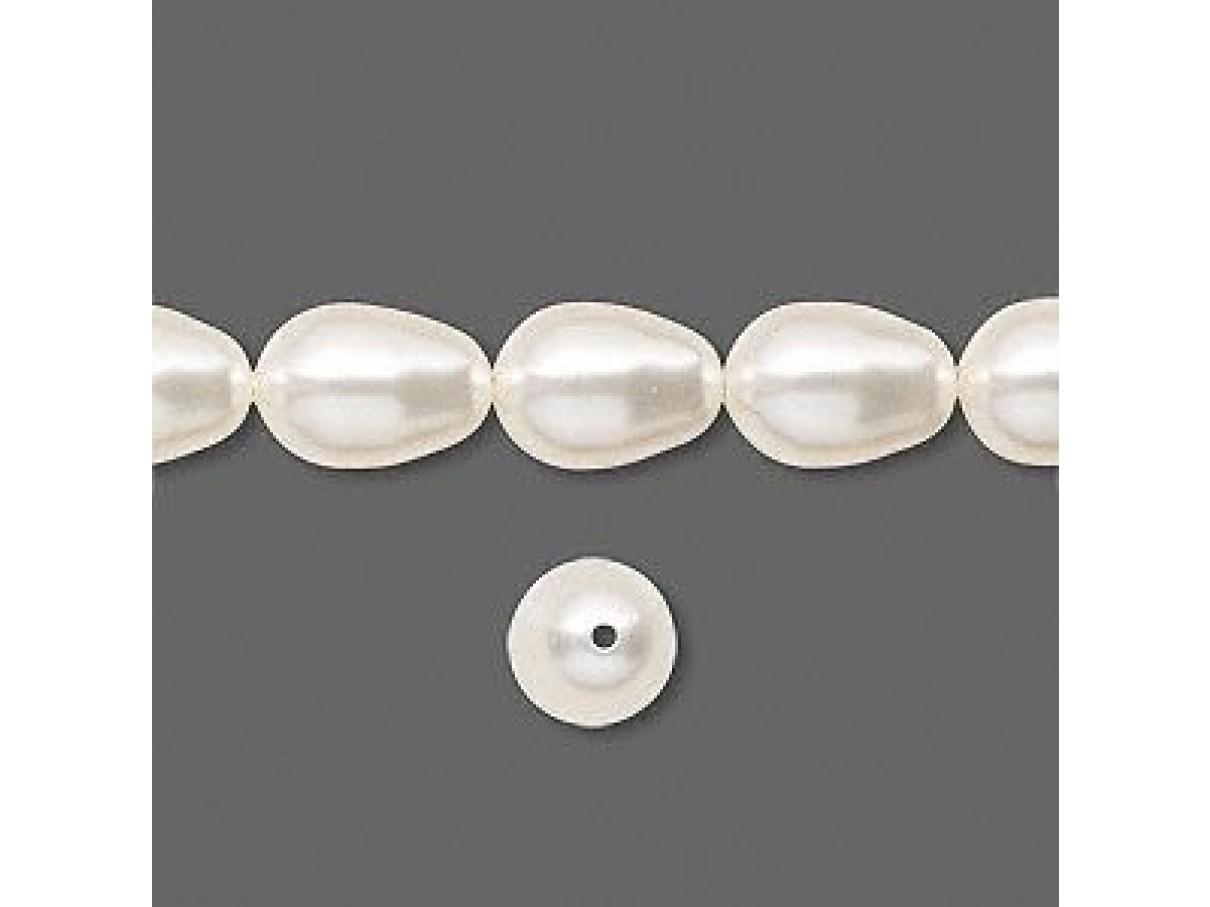 Swarovski® crystal pearl, 11mm dråbe, White-00