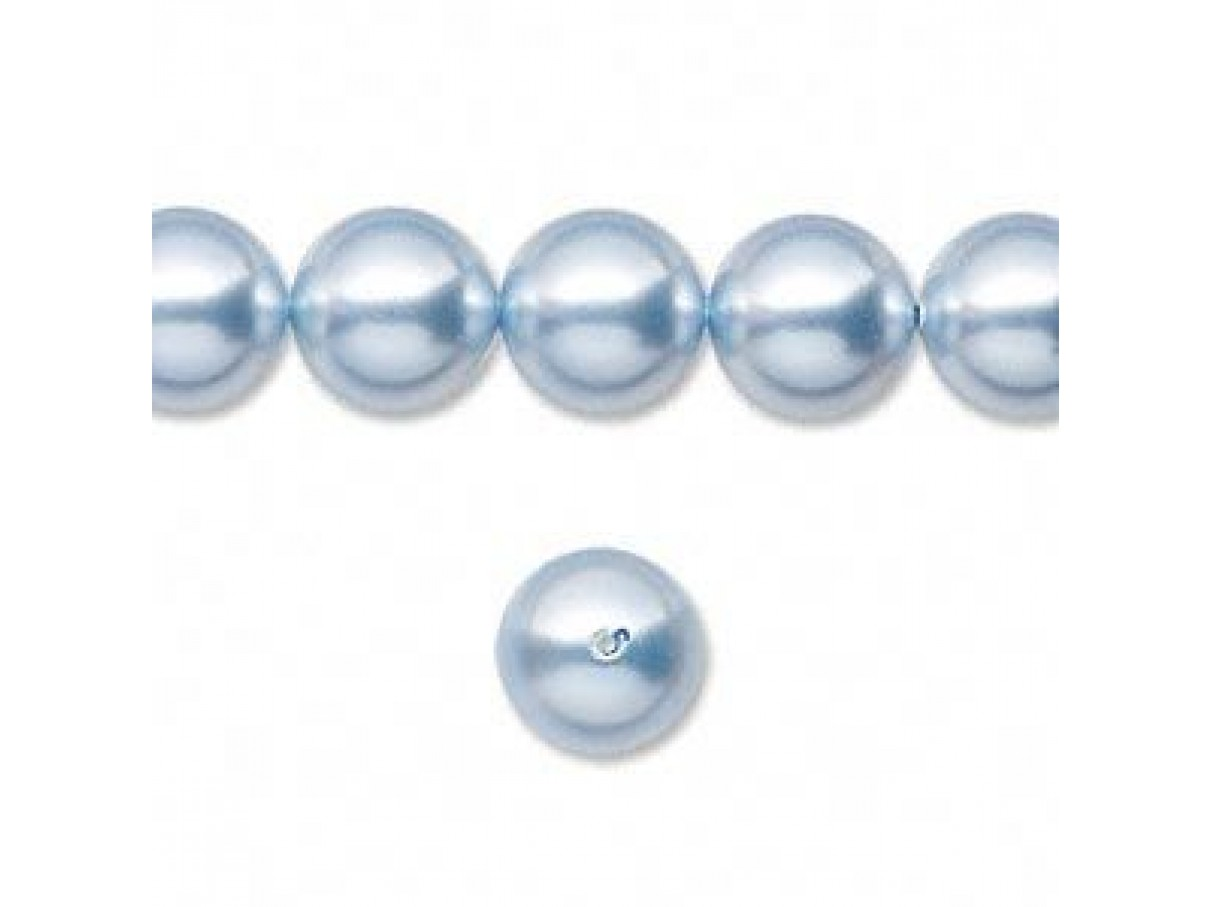 Swarovski crystal pearl, Light blue, 10mm rund