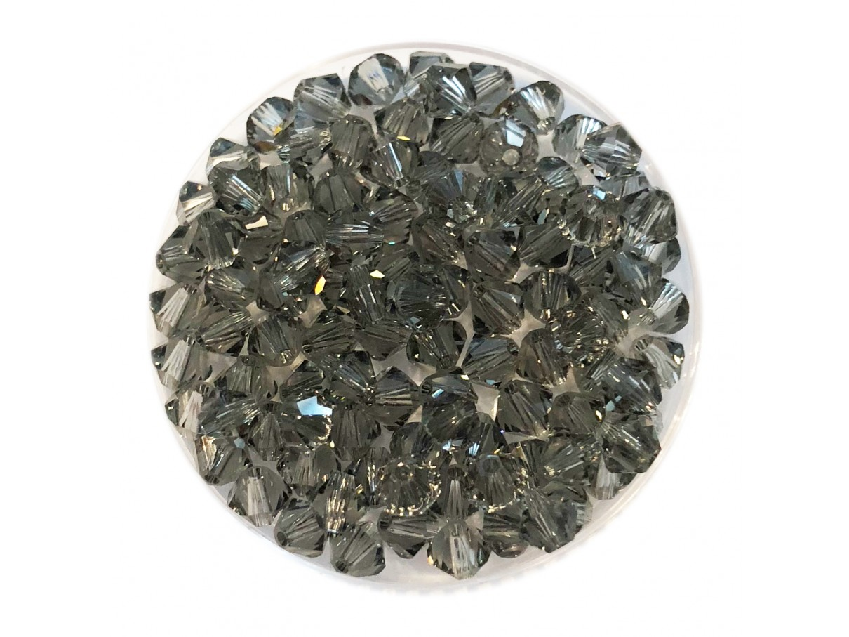 Swarovski crystal, 4mm bicone, Black Diamond, 10 stk