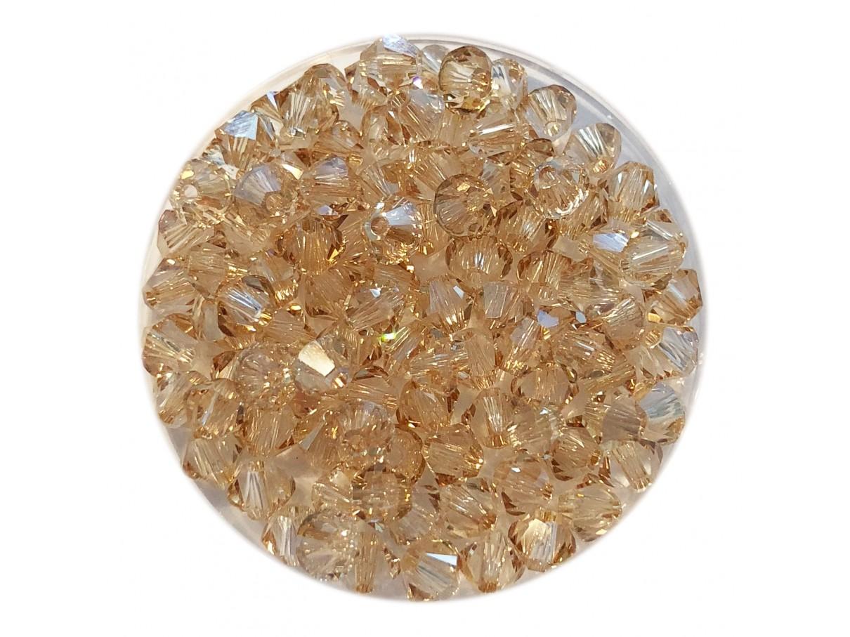 Swarovski crystal 4mm bicone, Crystal Golden Shadow, 10 stk