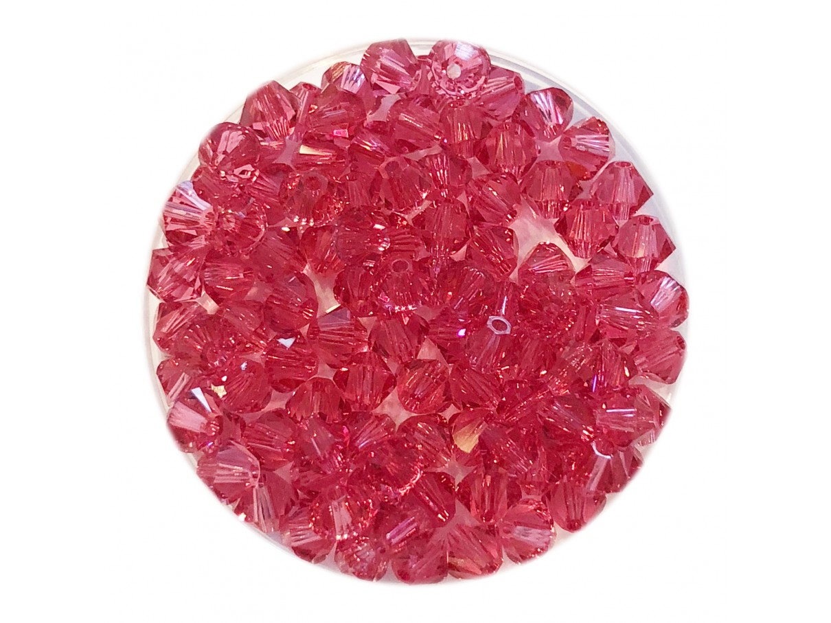 Swarovski crystal 4mm bicone, Indian Pink, 10 stk