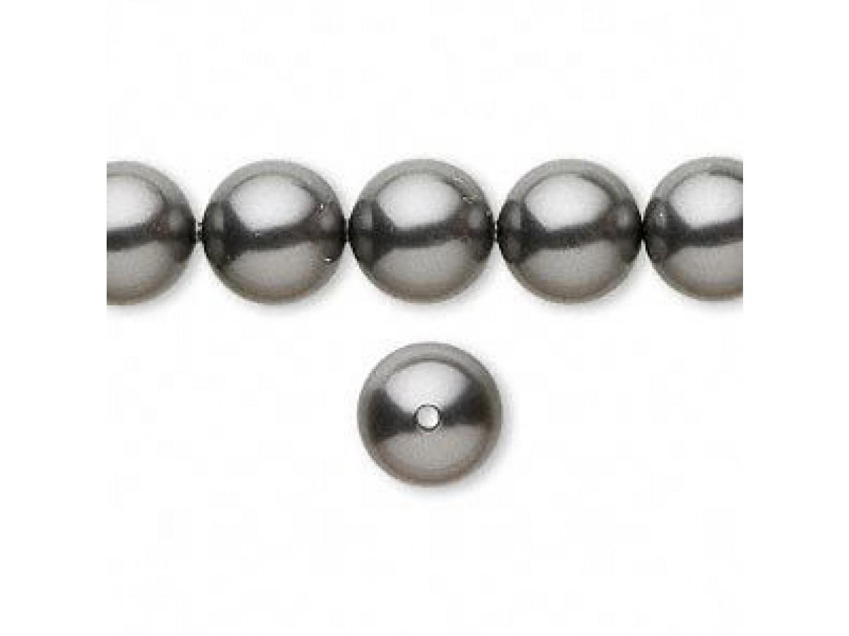 Swarovski crystal pearl, Dark Grey, 10mm rund
