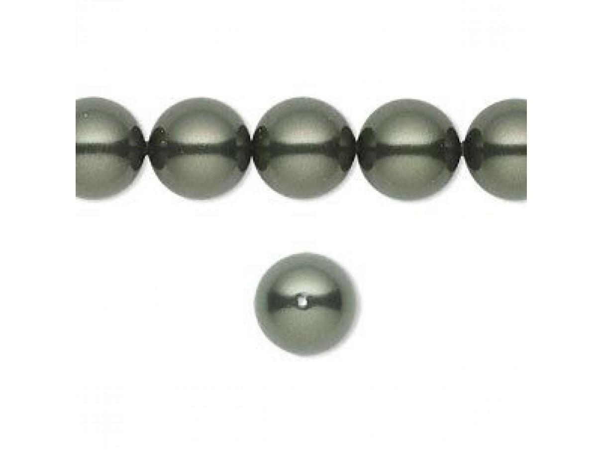Swarovski crystal pearl, Dark Green, 10mm rund