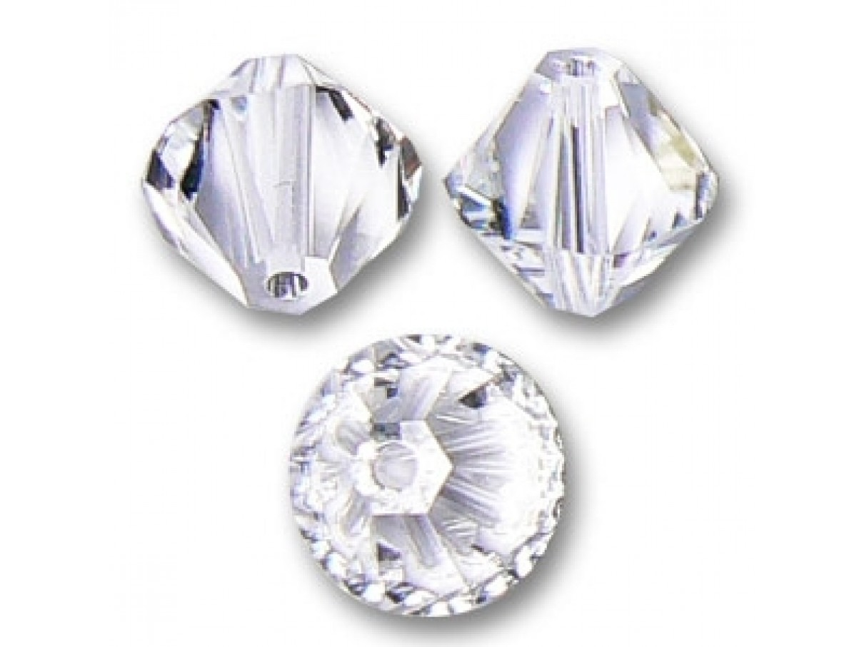 Swarovski crystal, 4mm bicone, Crystal Clear, 10 stk