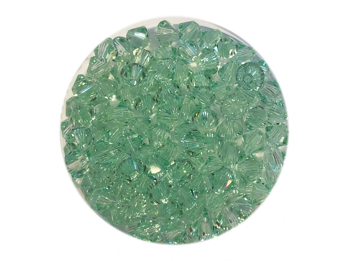 Swarovski crystal, 4mm bicone, Chrysolite, 10 stk