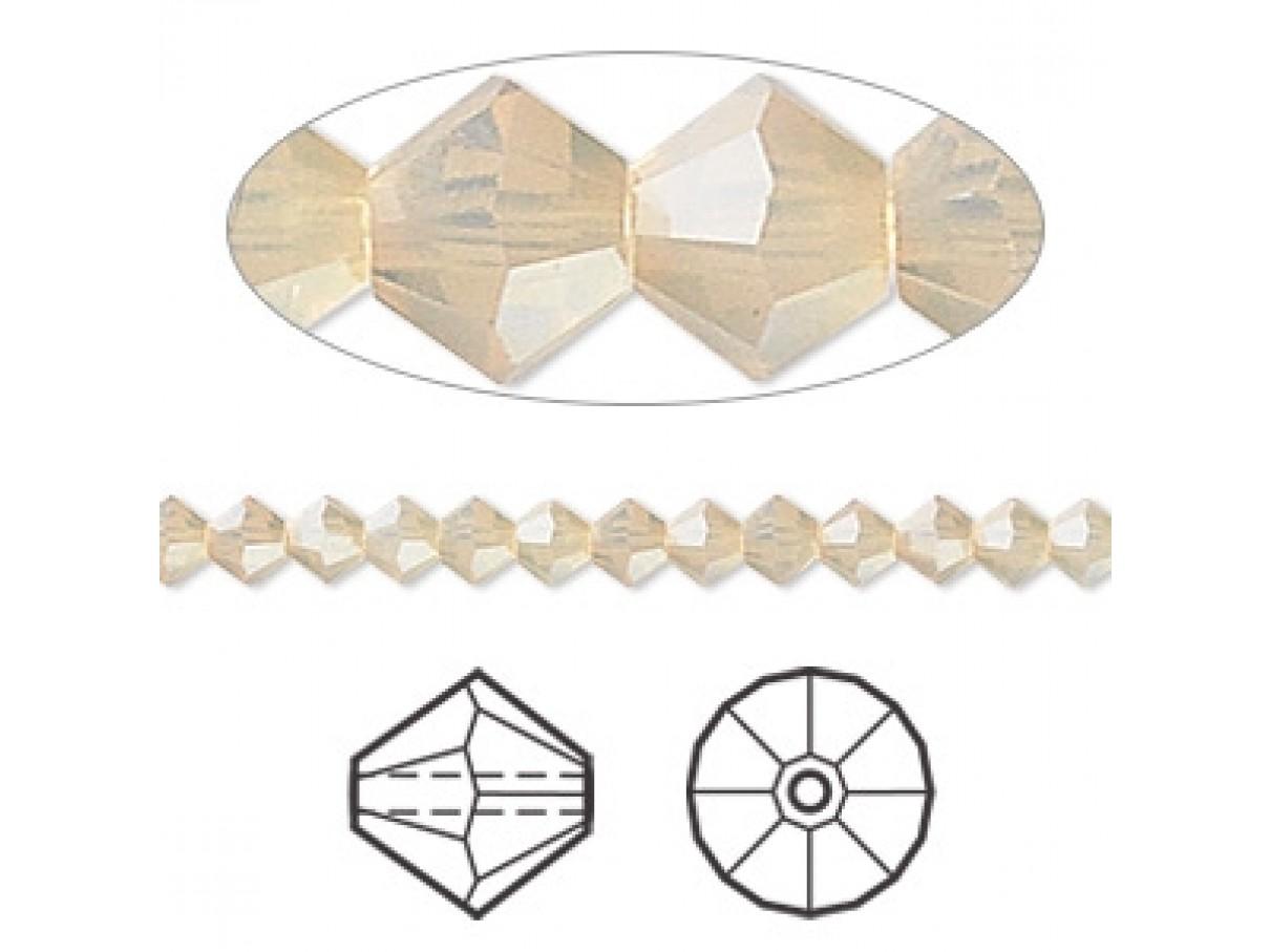 Swarovski crystal, 4mm bicone, sand opal, 10 stk