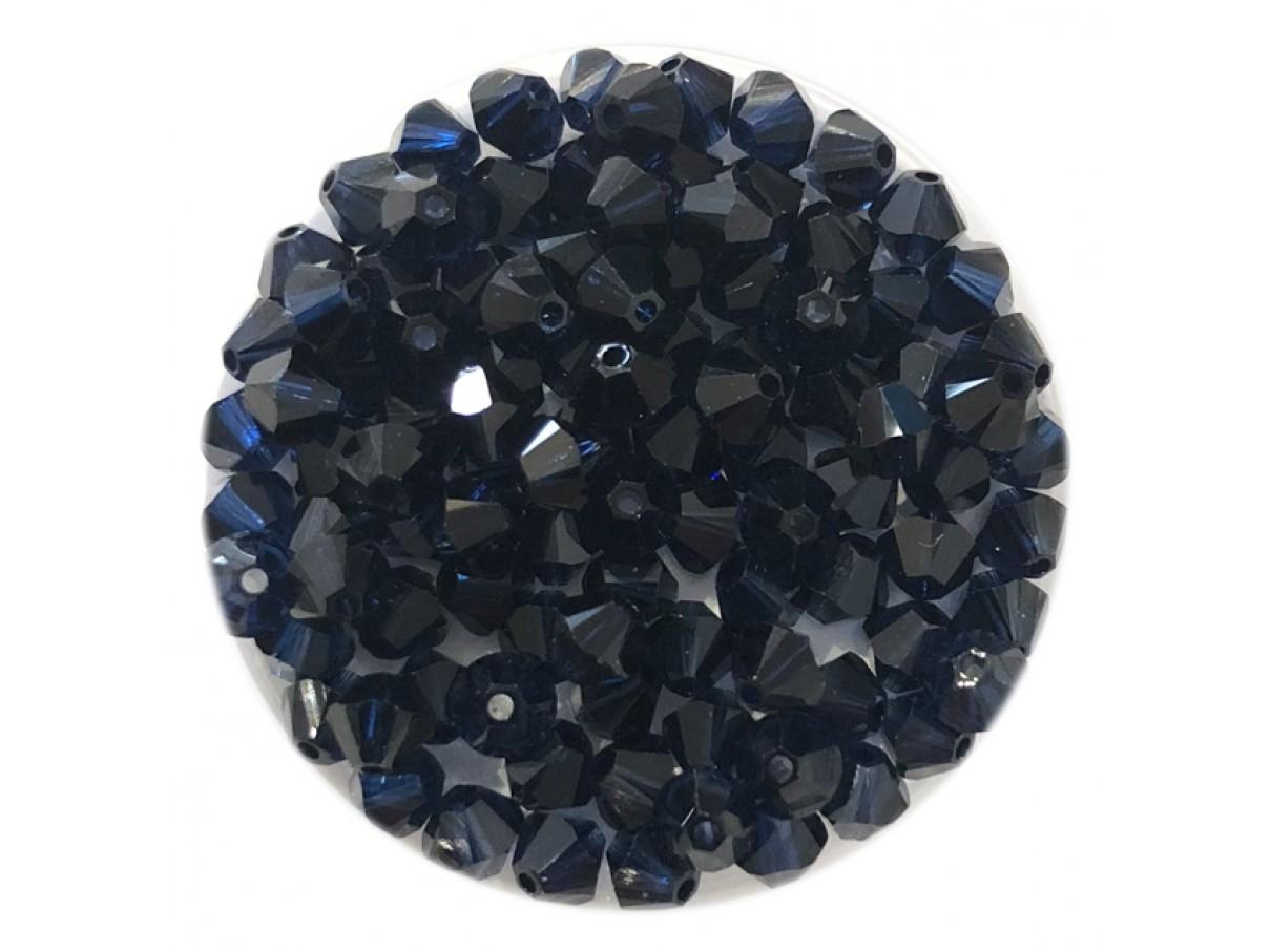 Swarovski crystal, 4mm bicone, dark indigo, 10 stk