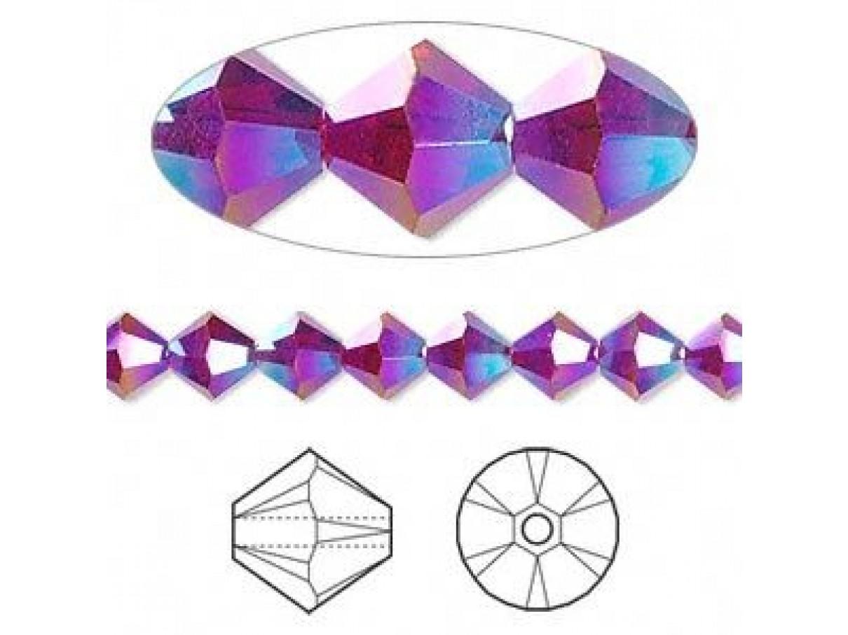 Swarovski® crystal 6mm bicone, Siam AB2X