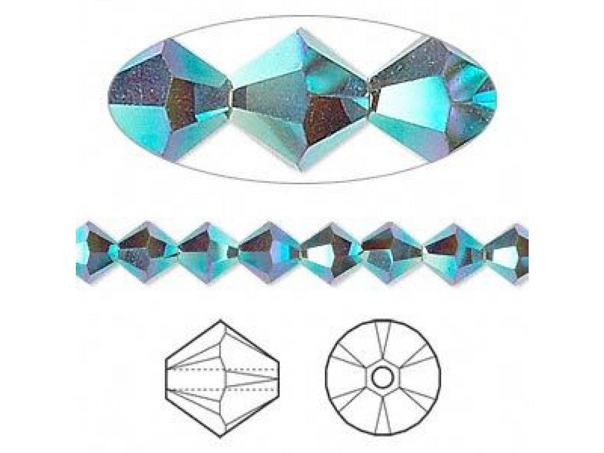 Swarovski® crystal 6mm bicone, Palace green opal AB2X