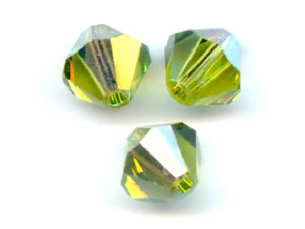 Swarovski crystal 4mm bicone, Olivine AB, 10 stk