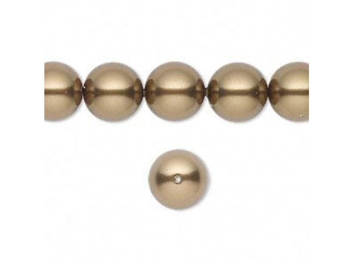 Swarovski crystal pearl, Antique brass, 10mm rund