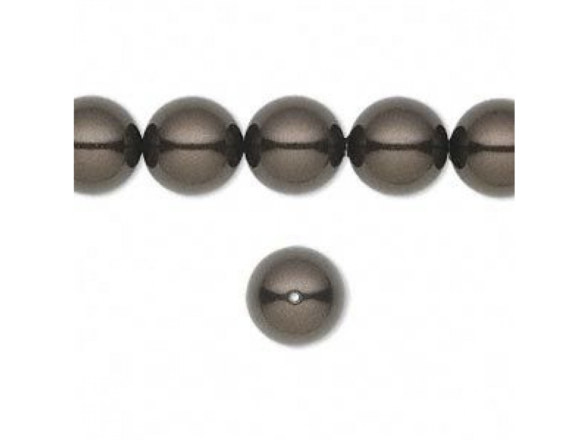 Swarovski crystal pearl, Deep Brown, 10mm rund