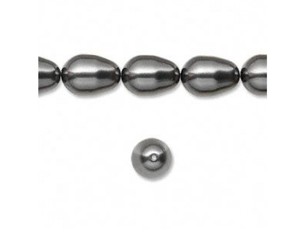 Swarovski® crystal pearl, 11mm dråbe, Dark grey