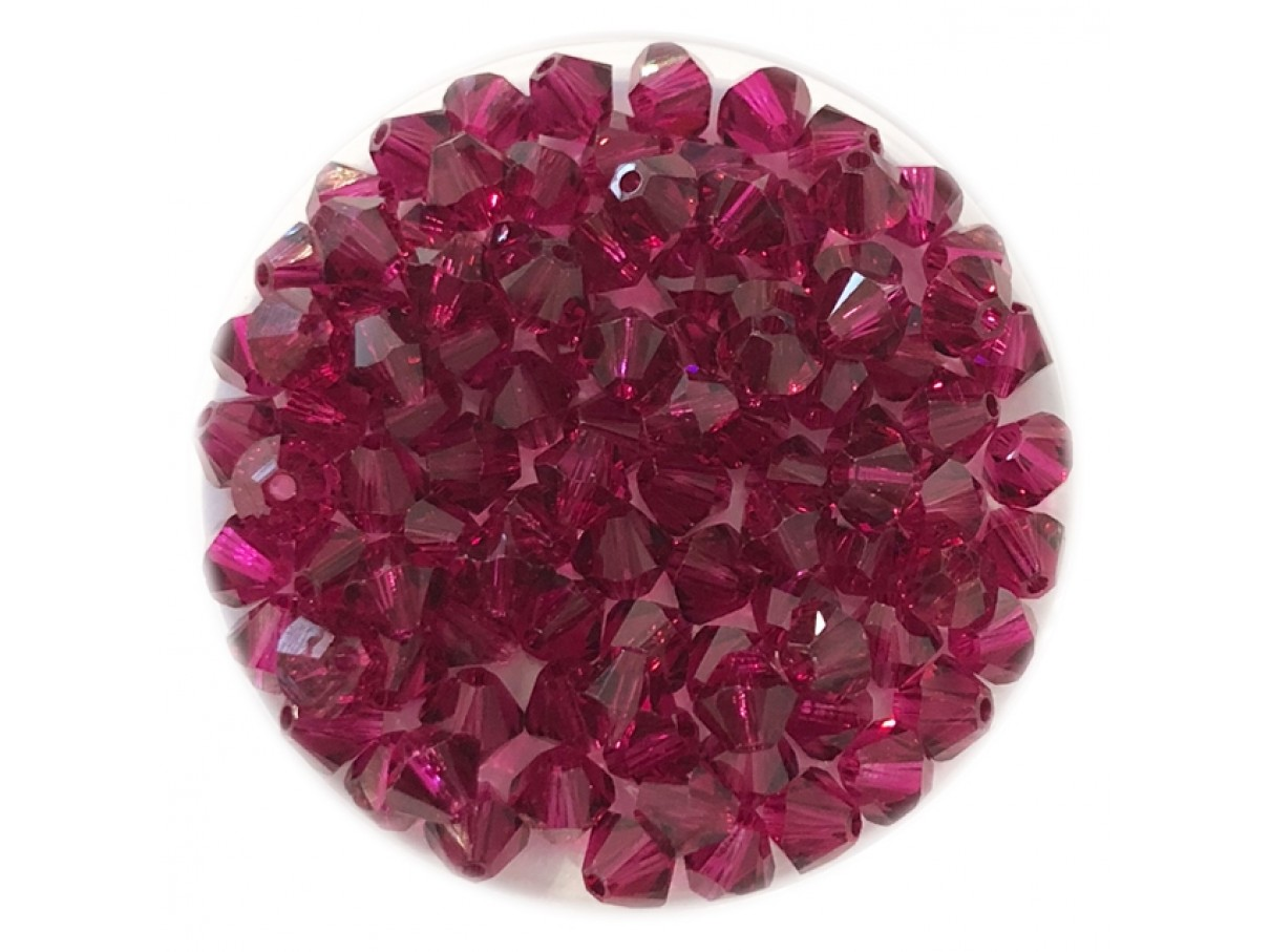 Swarovski crystal, 4mm bicone, Ruby, 10 stk