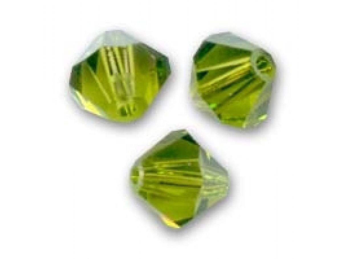 Swarovski crystal, 4mm bicone, Olivine, 10 stk