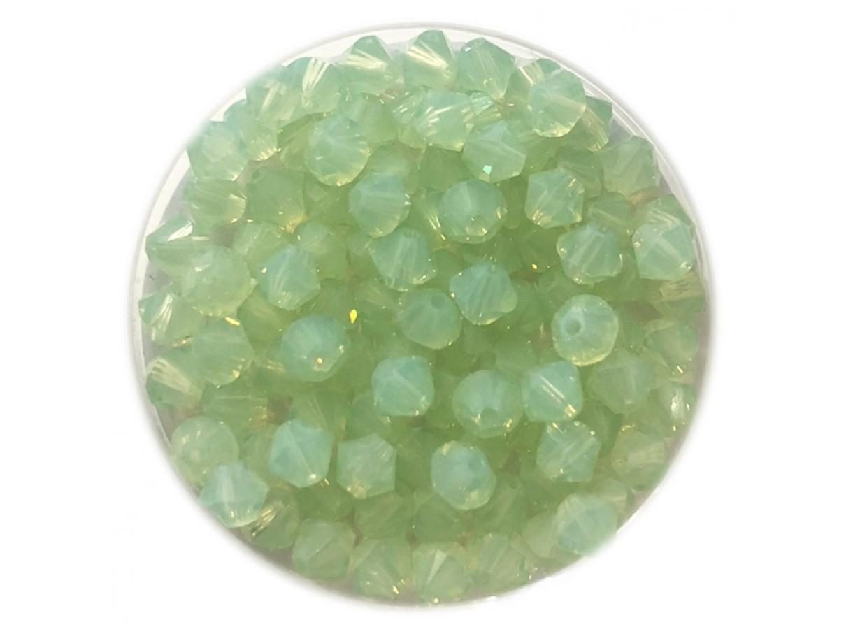 Swarovski crystal, 4mm bicone, Chrysolite Opal, 10 stk