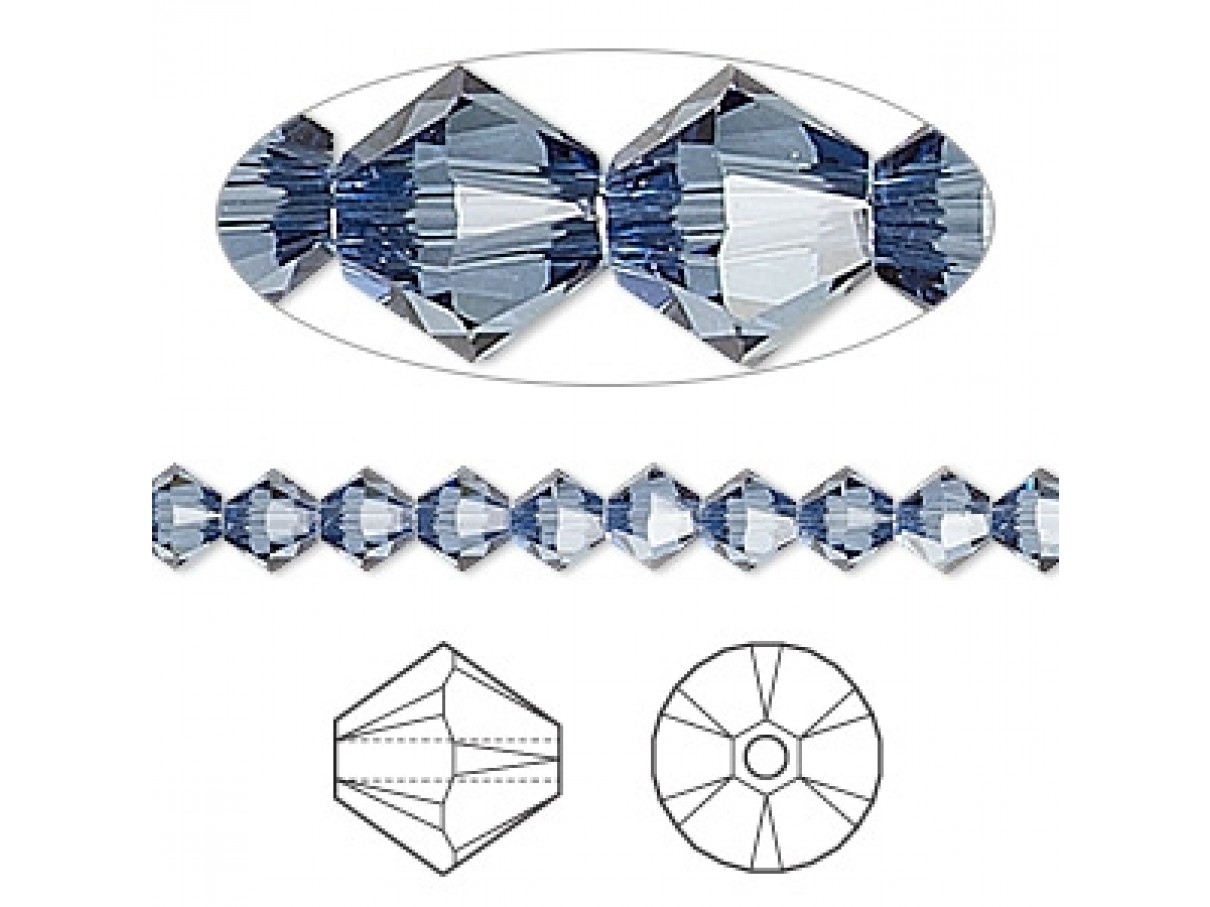 Swarovski crystal, 4mm bicone, Denim blue satin, 10 stk