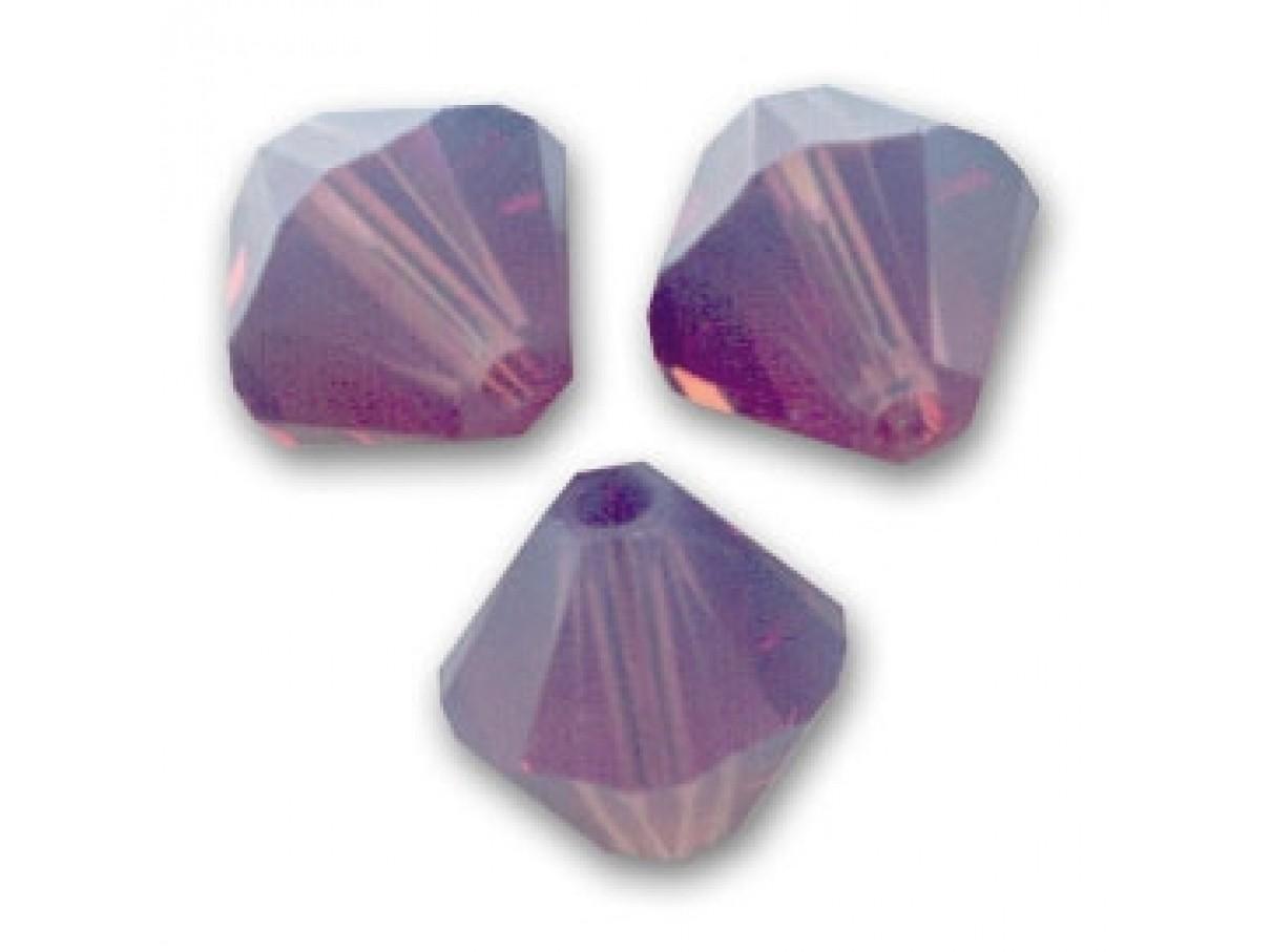 Swarovski crystal, 4mm bicone, Cyclamen Opal, 10 stk