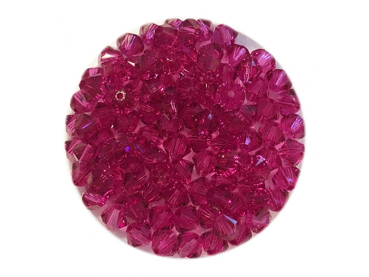 Swarovski crystal, 4mm bicone, Fuchsia, 10 stk