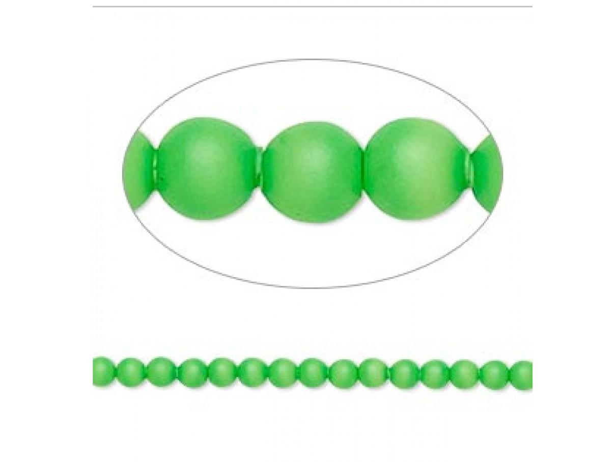 Swarovski® crystal pearl, neon grøn, 3mm rund, 10 stk