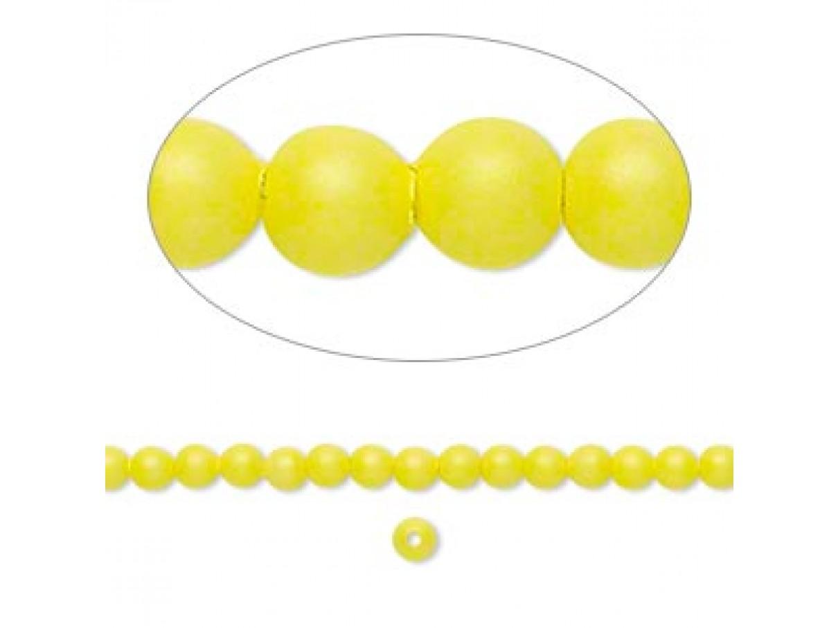 Swarovski® crystal pearl, neon gul, 3mm rund, 10 stk