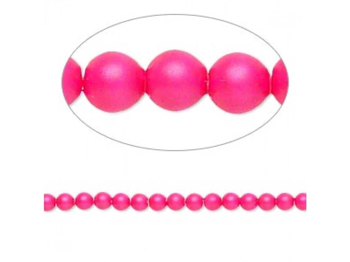 Swarovski® crystal pearl, neon pink, 3mm rund, 10 stk
