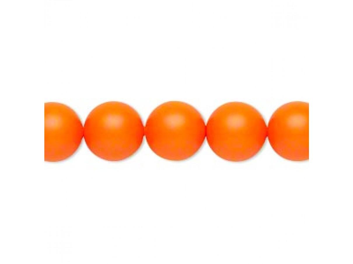 Swarovski crystal pearl, Neon Orange, 10mm rund
