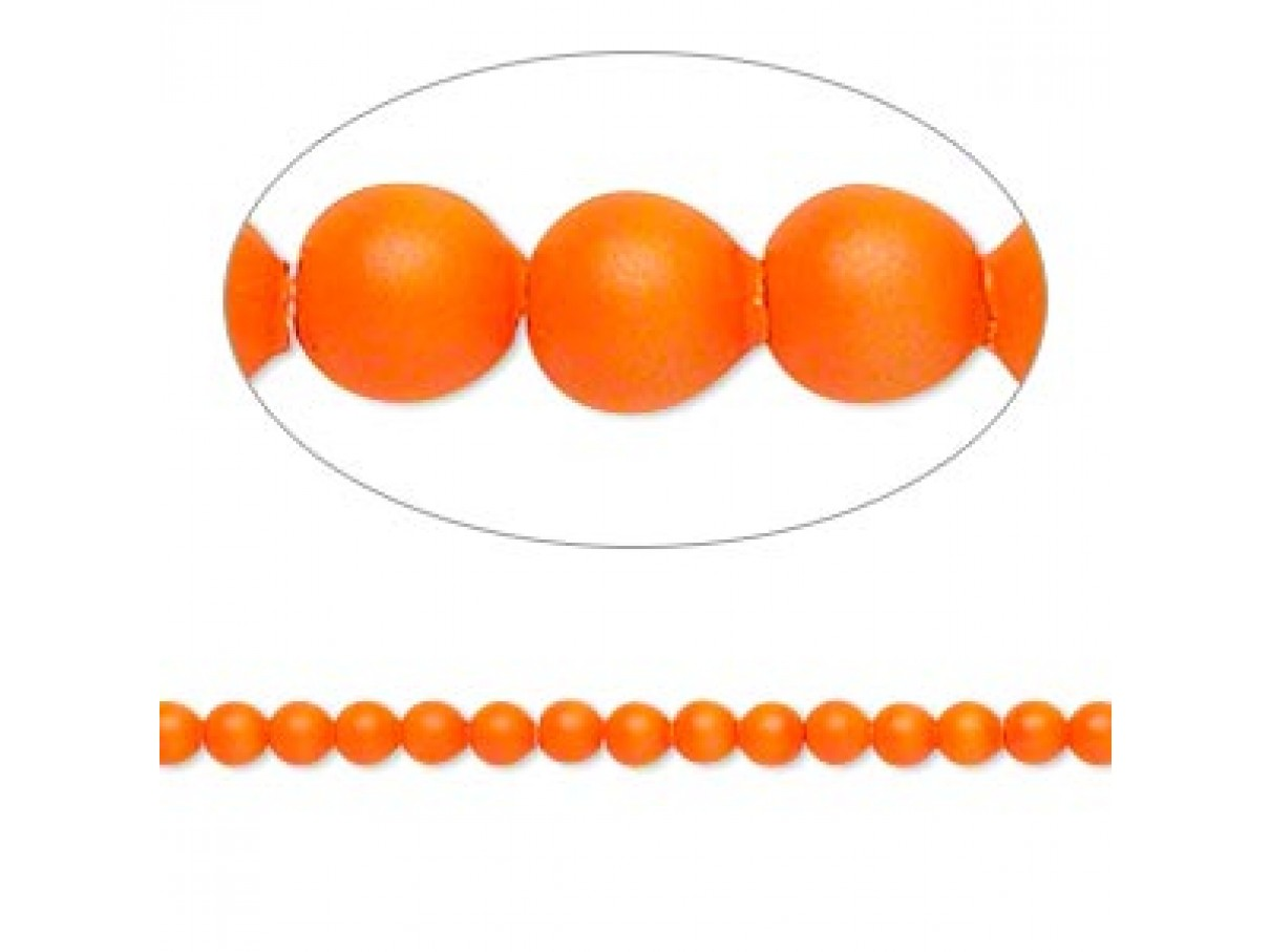 Swarovski® crystal pearl, neon orange, 3mm rund, 10 stk