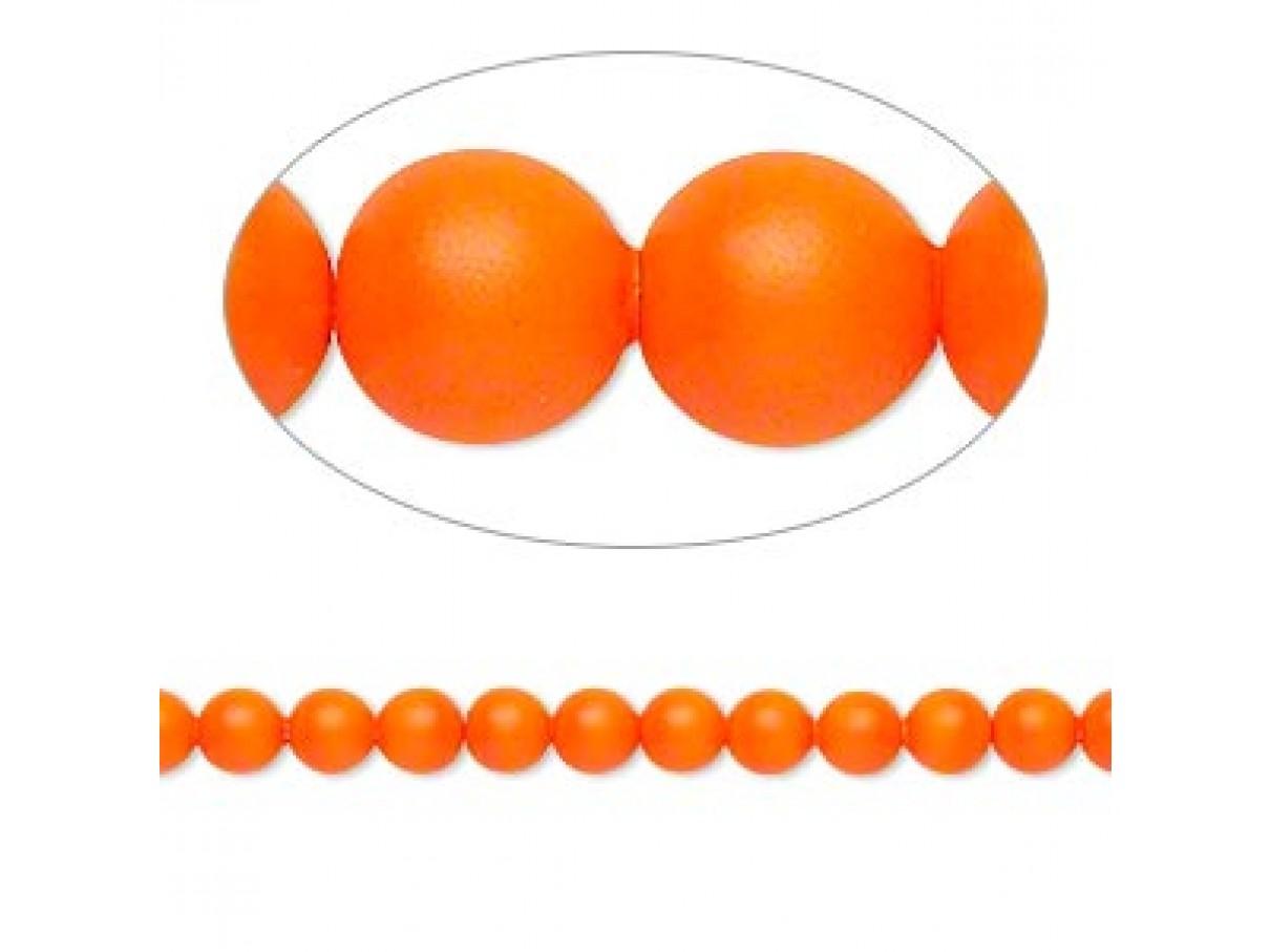Swarovski® crystal pearl, 4mm rund, neon orange 10 stk