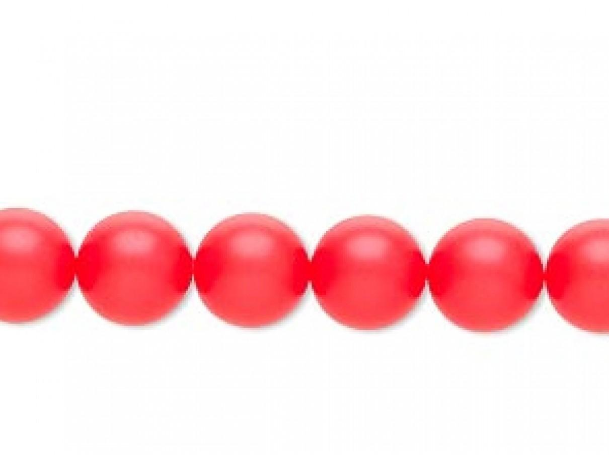Swarovski® crystal pearl, 8mm rund, neon rød