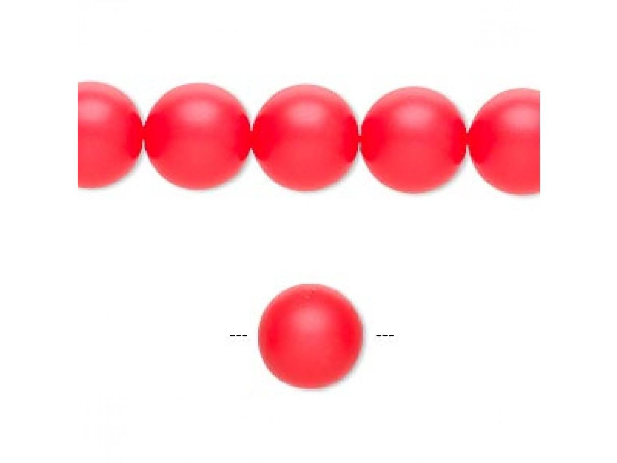 Swarovski® crystal pearl, Neon Red, 10mm rund
