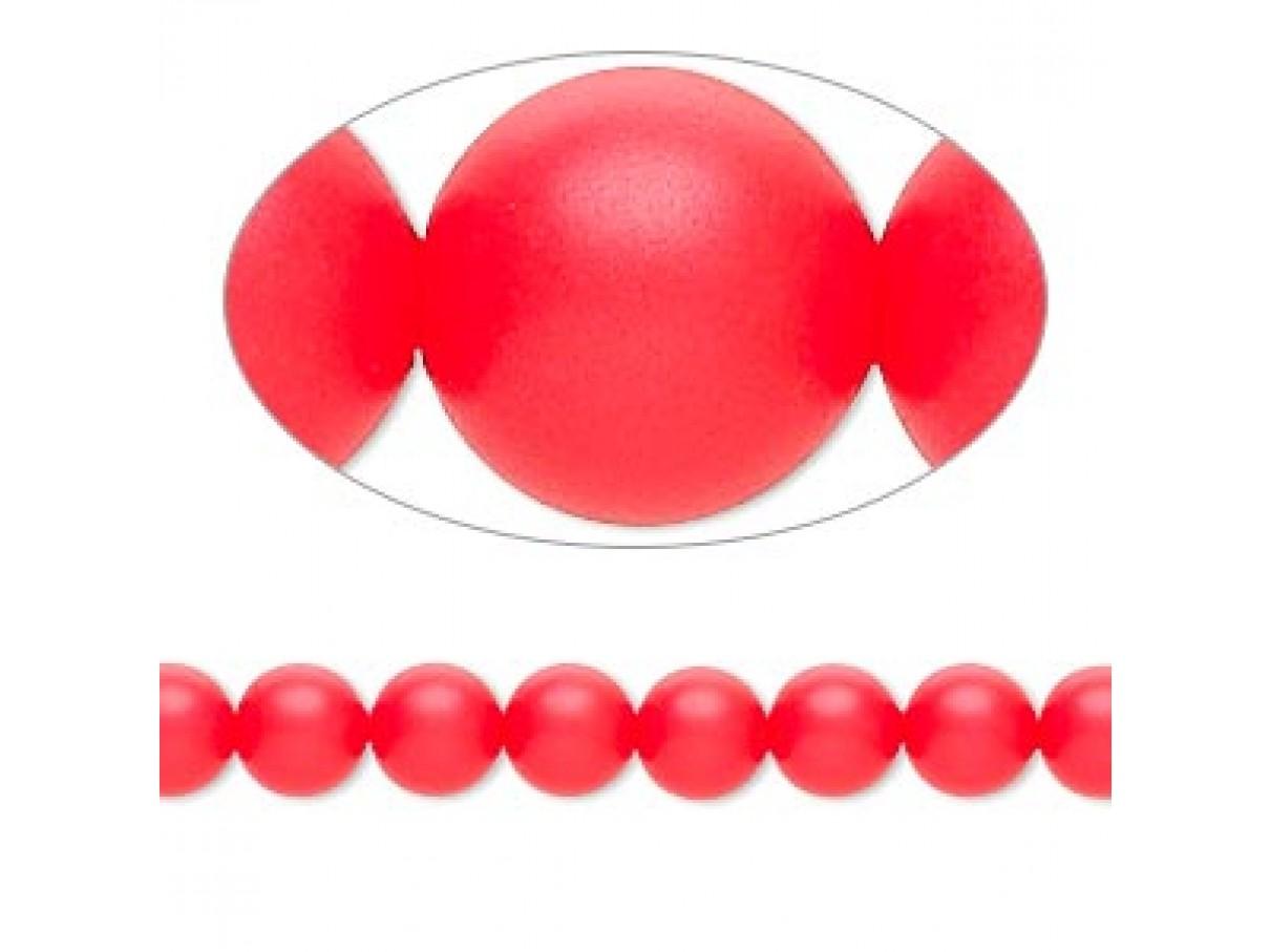 Swarovski® crystal pearl, neon rød, 6mm rund