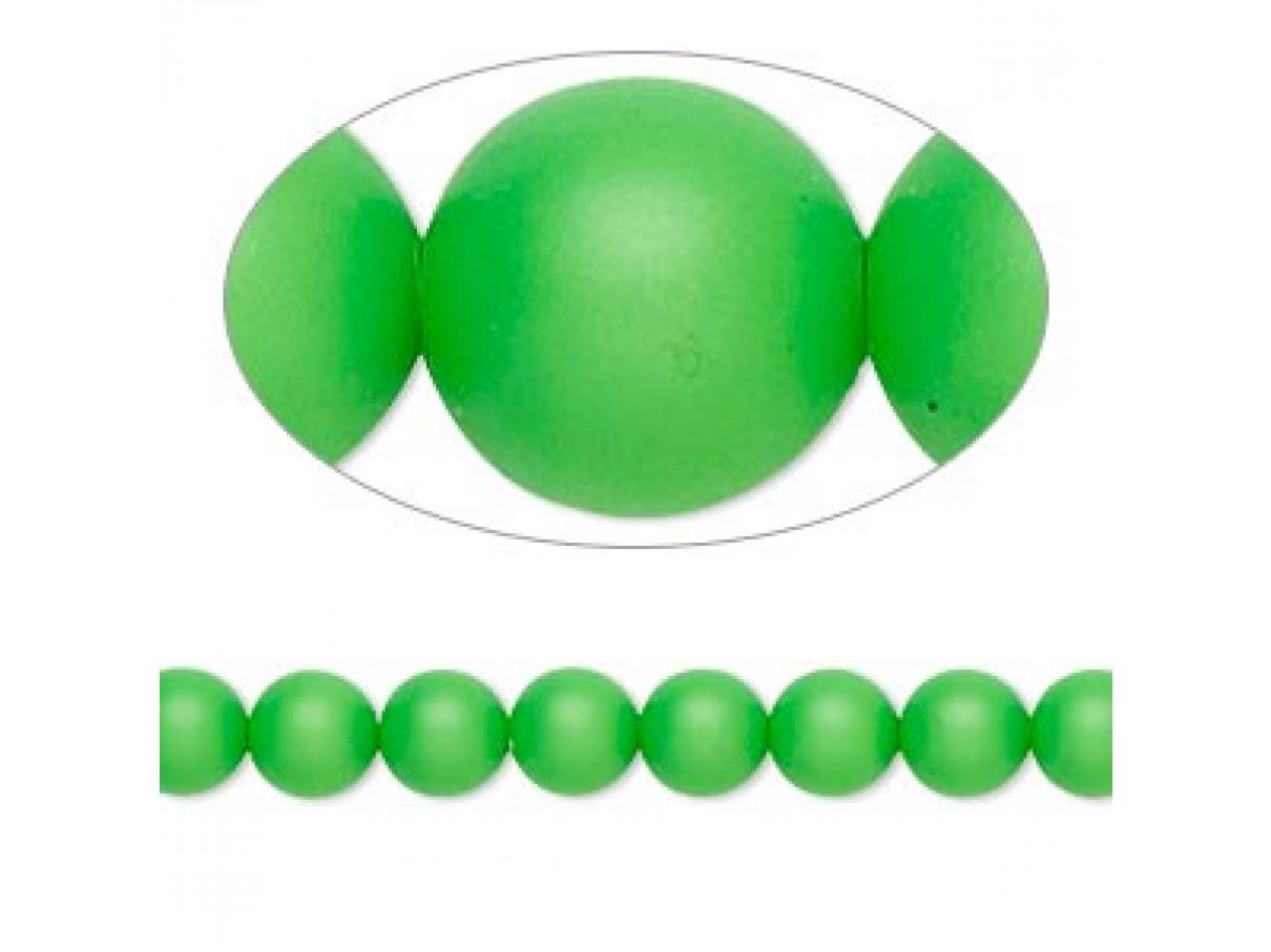 Swarovski® crystal pearl, neon grøn, 6mm rund