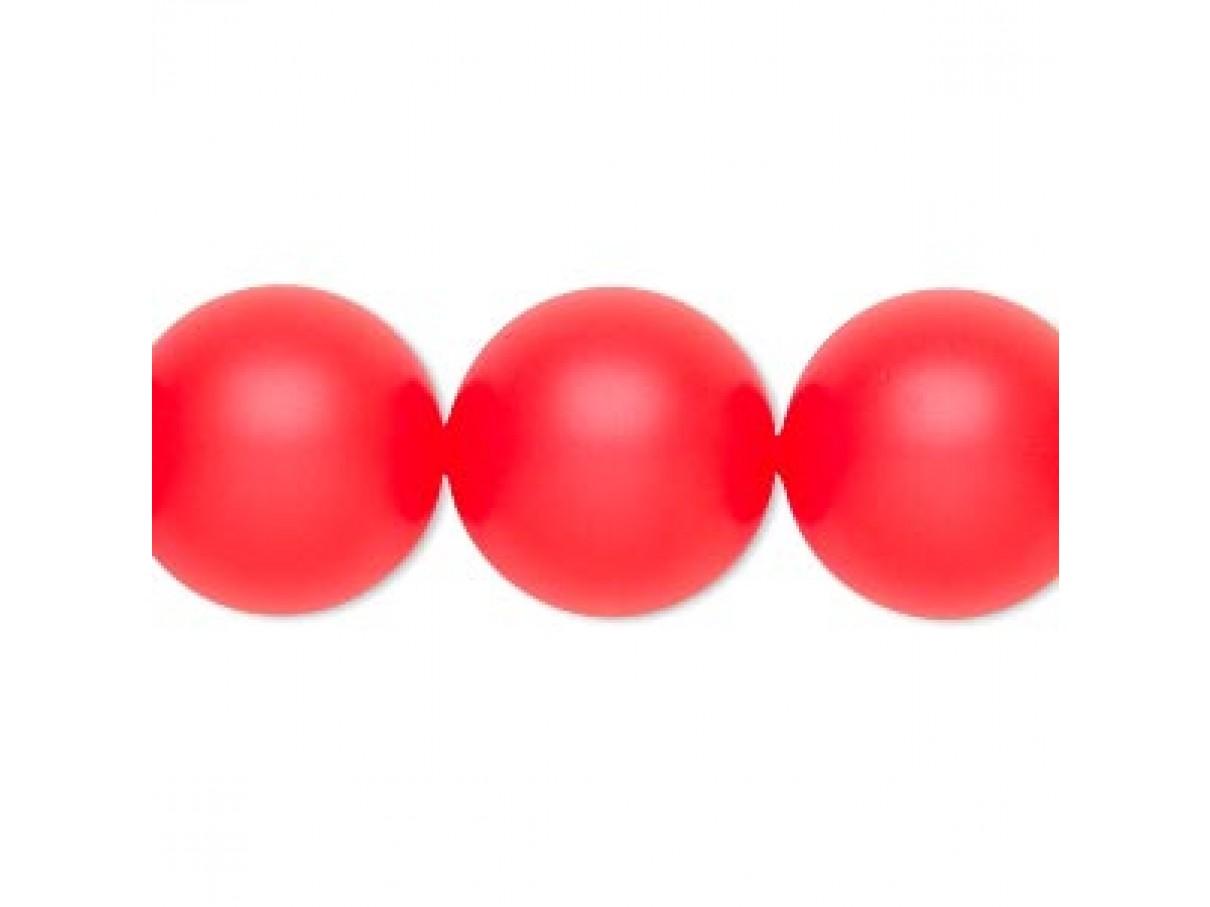 Swarovski® crystal pearl, neon rød, 16mm rund