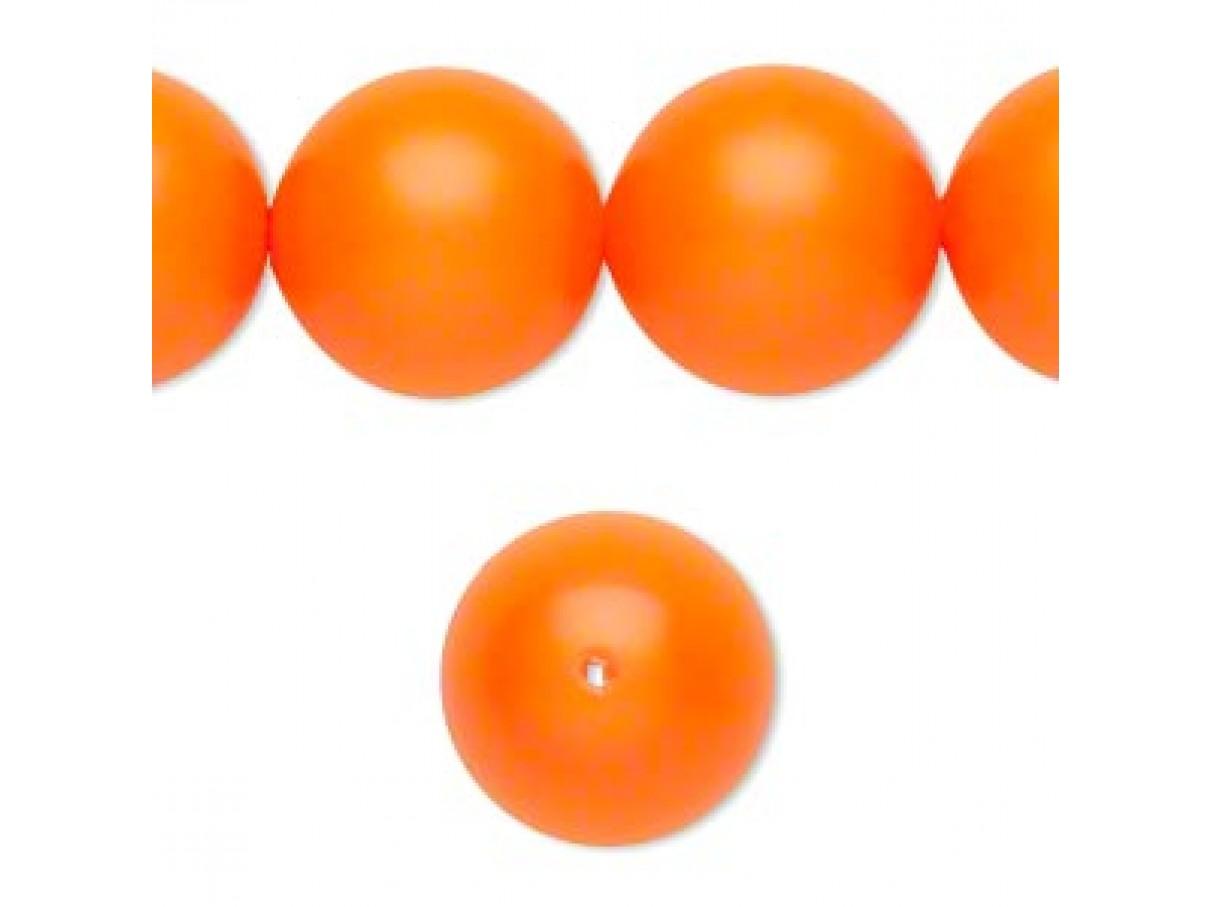 Swarovski® crystal pearl, neon orange, 16mm rund