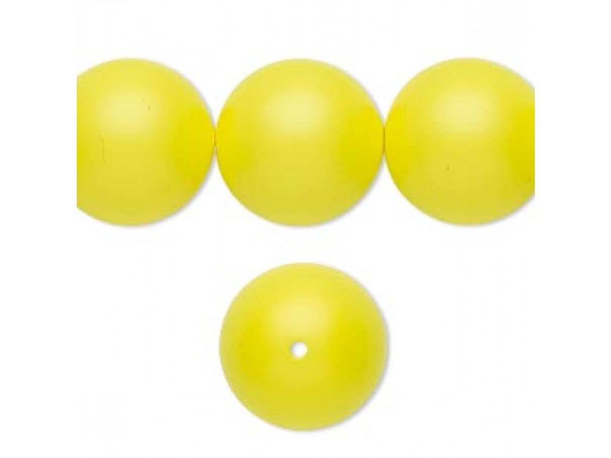 Swarovski® crystal pearl, neon gul, 16mm rund