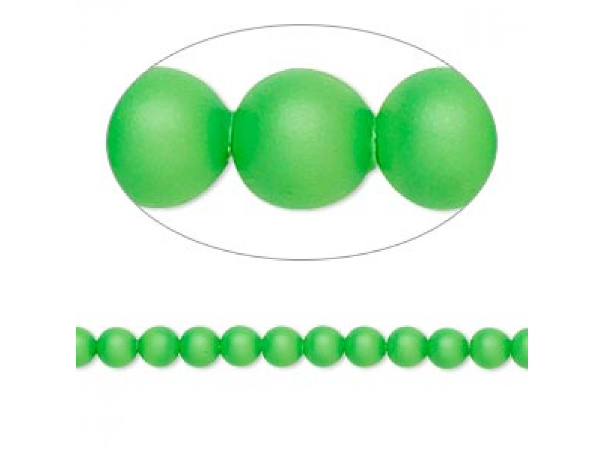 Swarovski® crystal pearl, 4mm rund, neon grøn 10 stk
