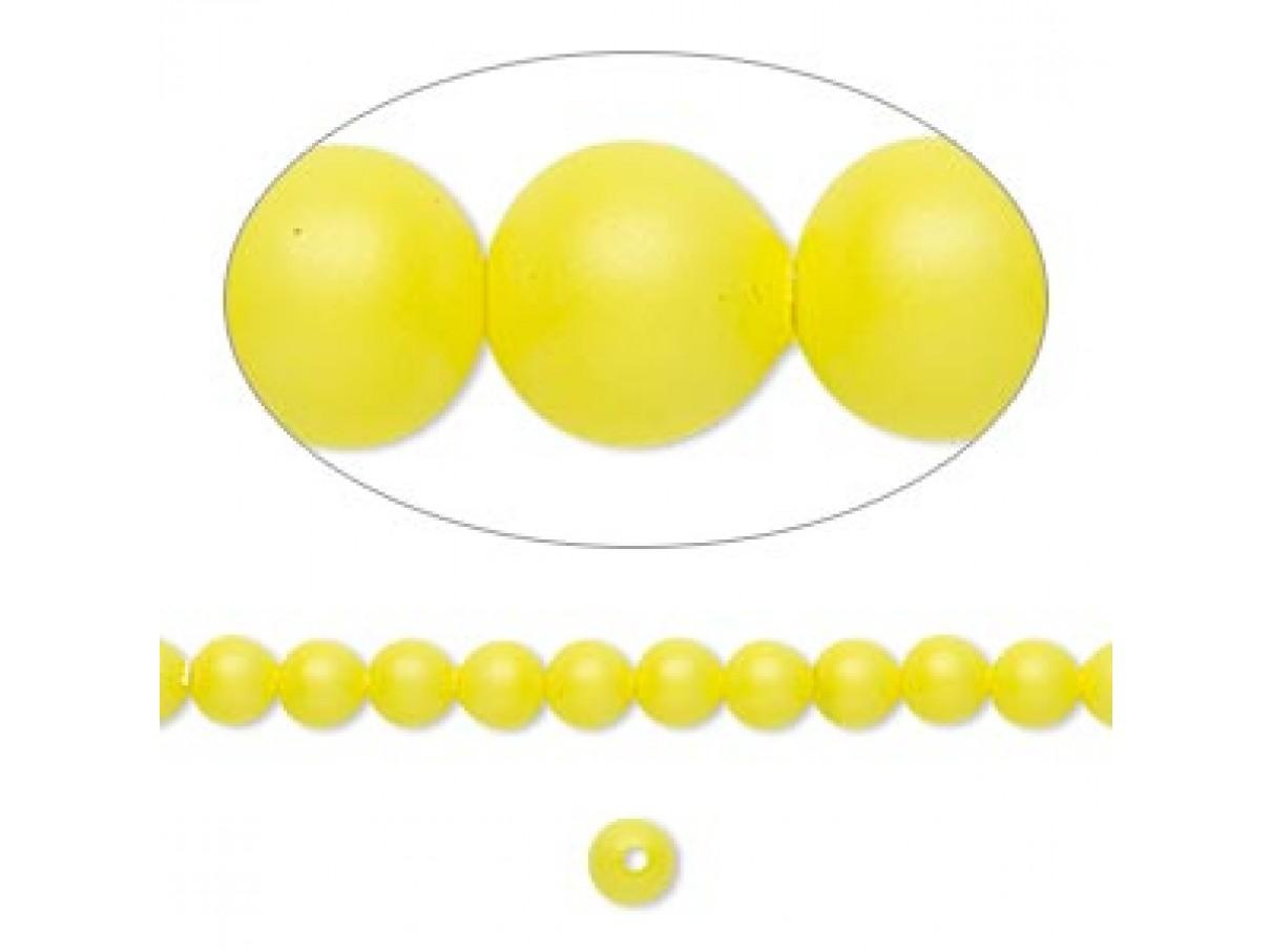 Swarovski® crystal pearl, 4mm rund, neon gul 10 stk