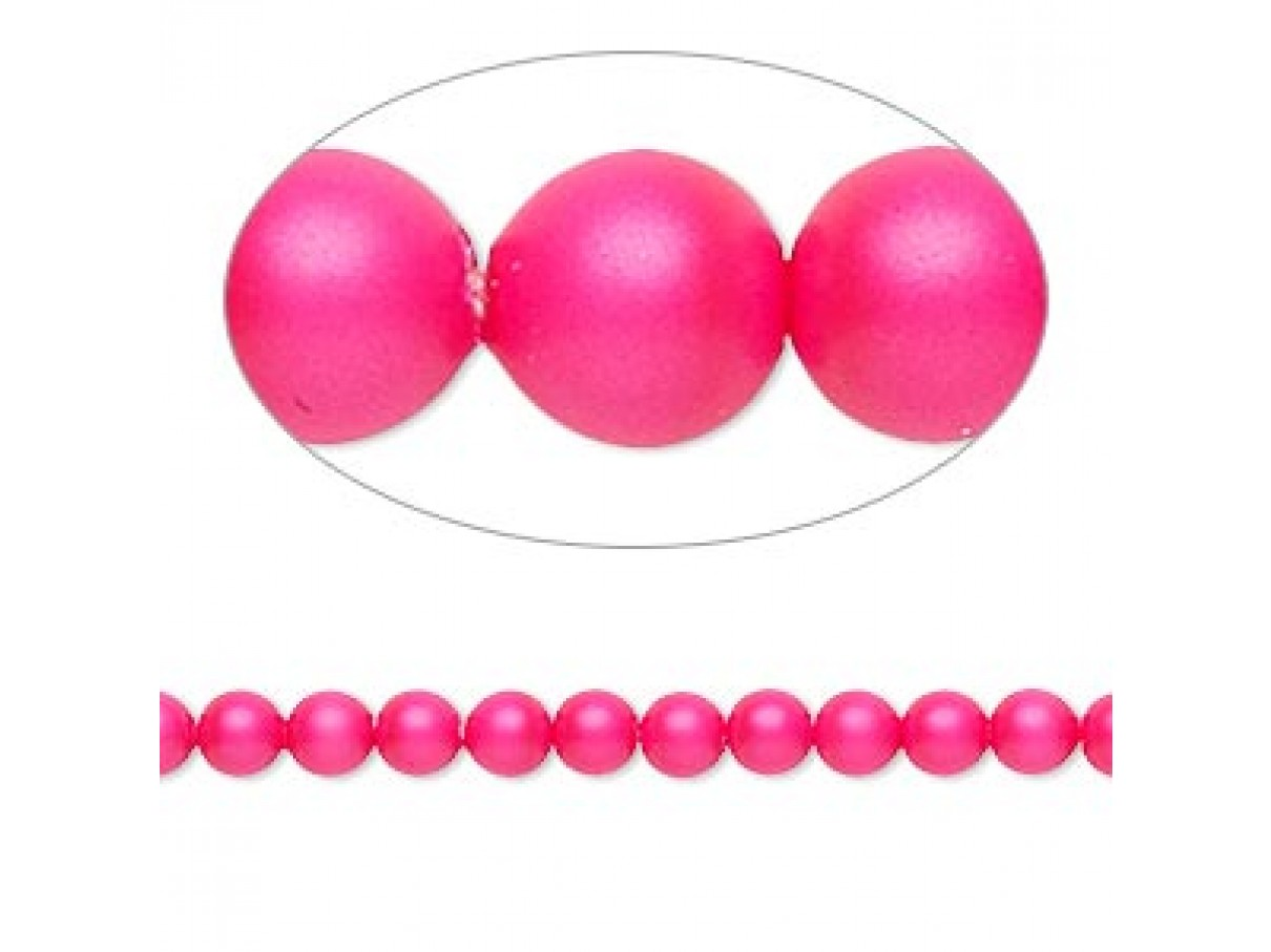 Swarovski® crystal pearl, 4mm rund, neon pink 10 stk