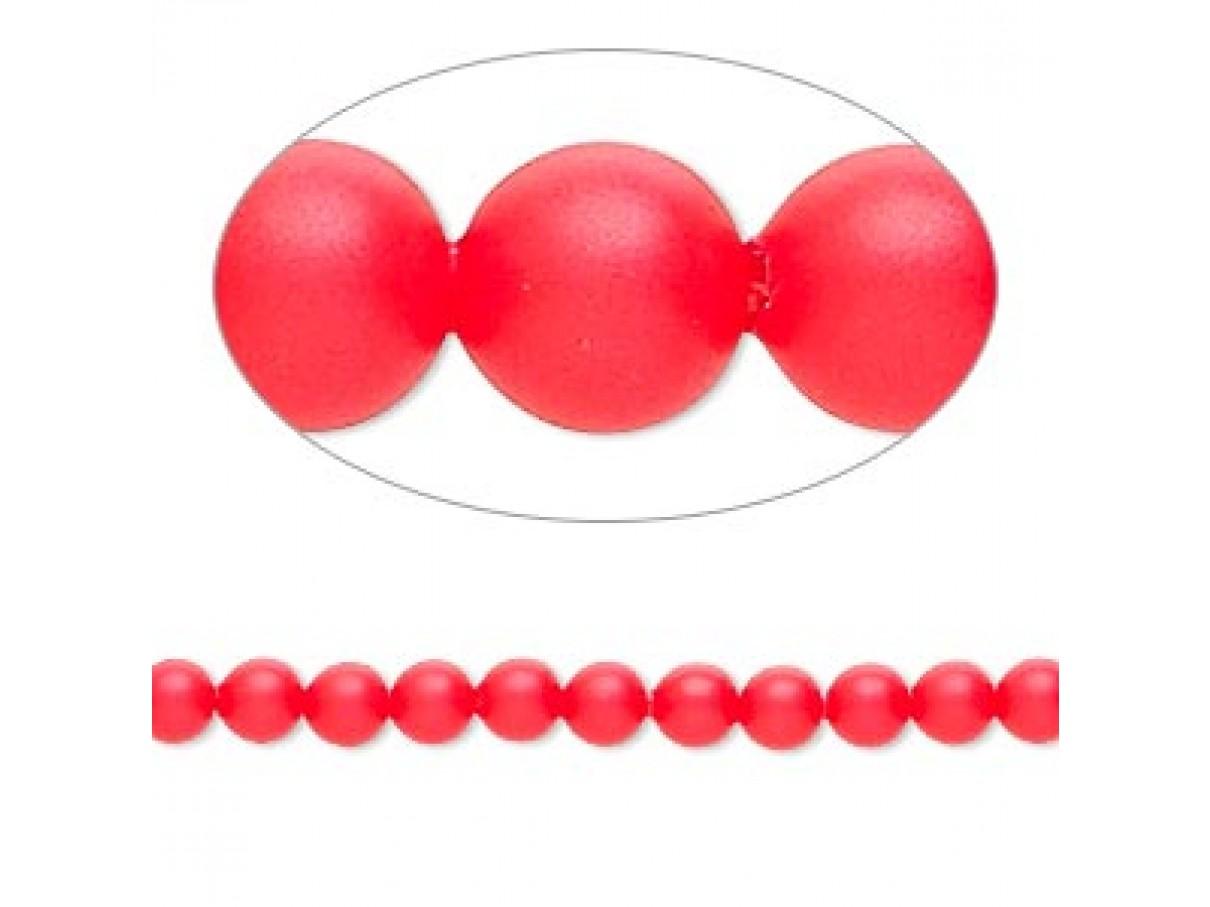 Swarovski® crystal pearl, 4mm rund, neon rød 10 stk