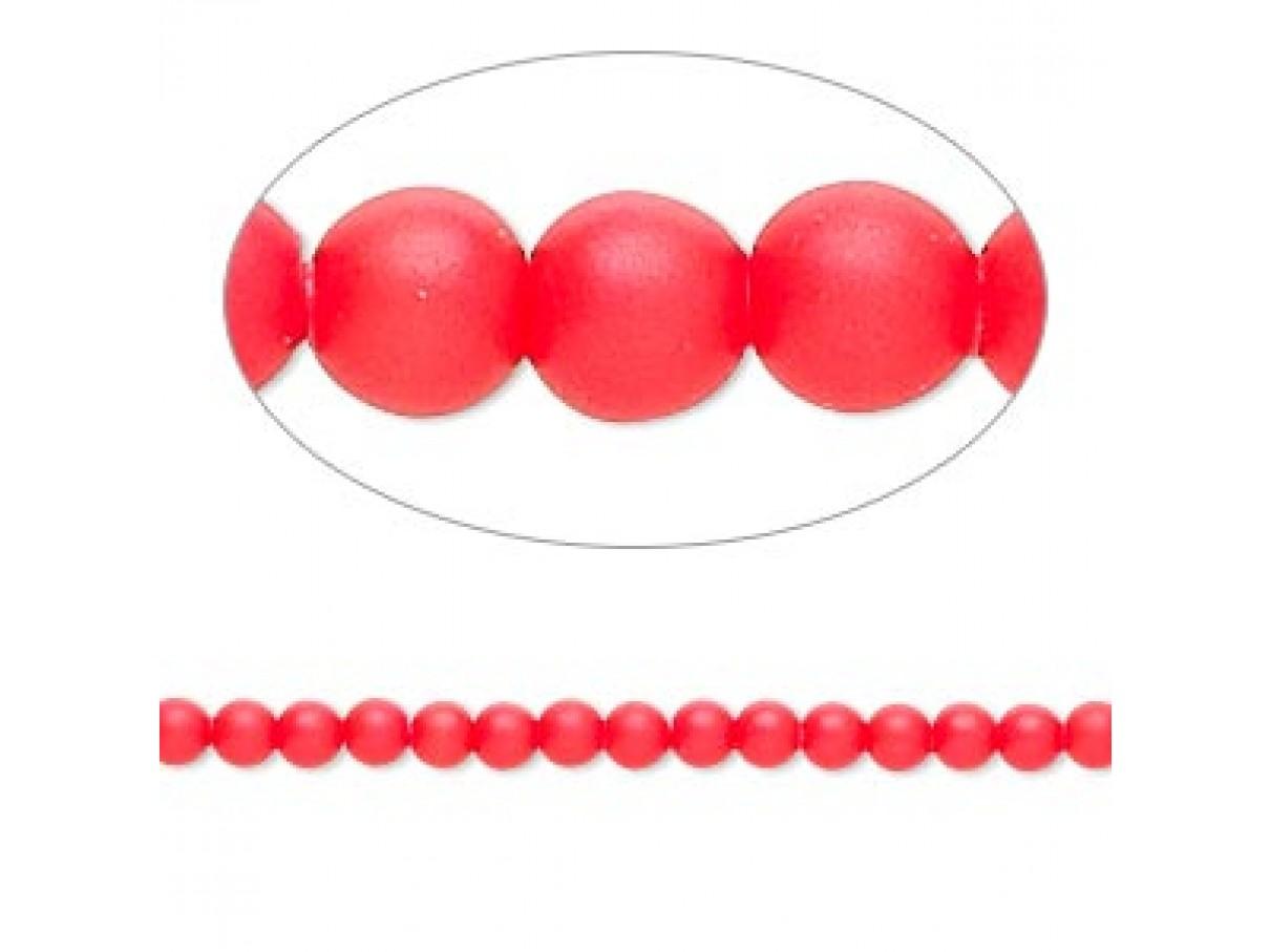 Swarovski® crystal pearl, neon rød, 3mm rund, 10 stk