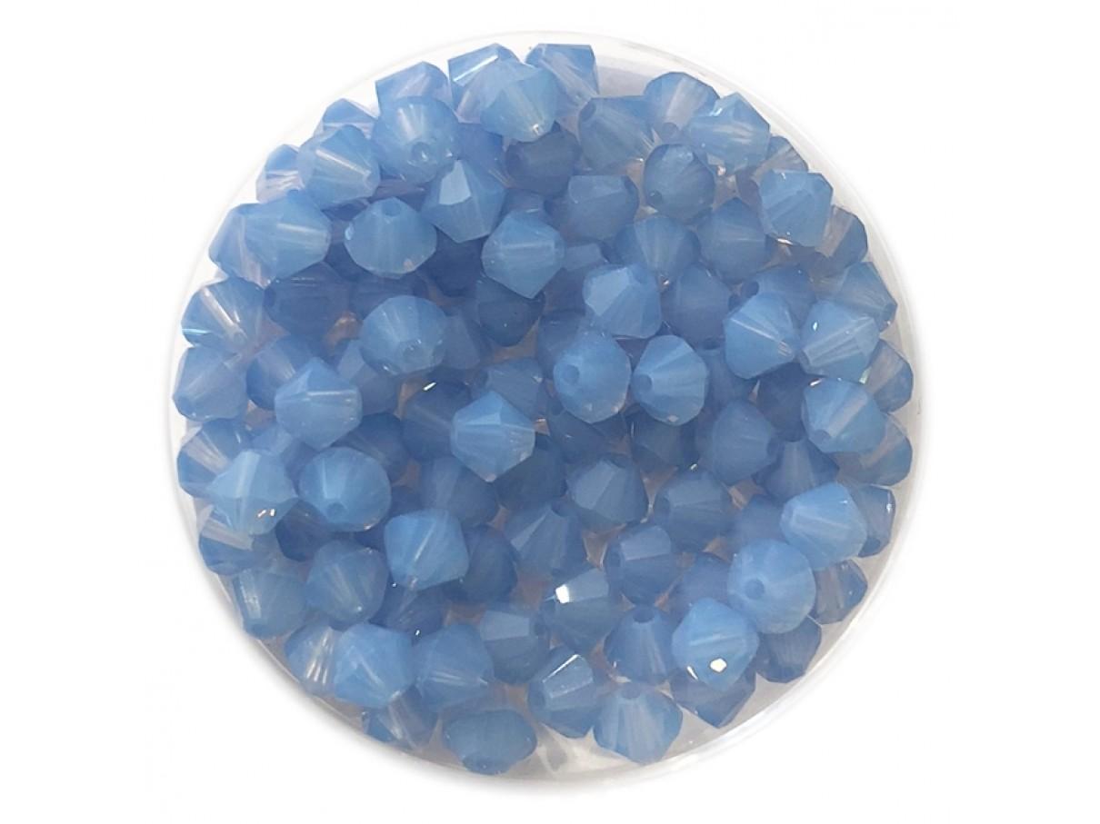 Swarovski crystal 4mm bicone, air blue opal, 10 stk