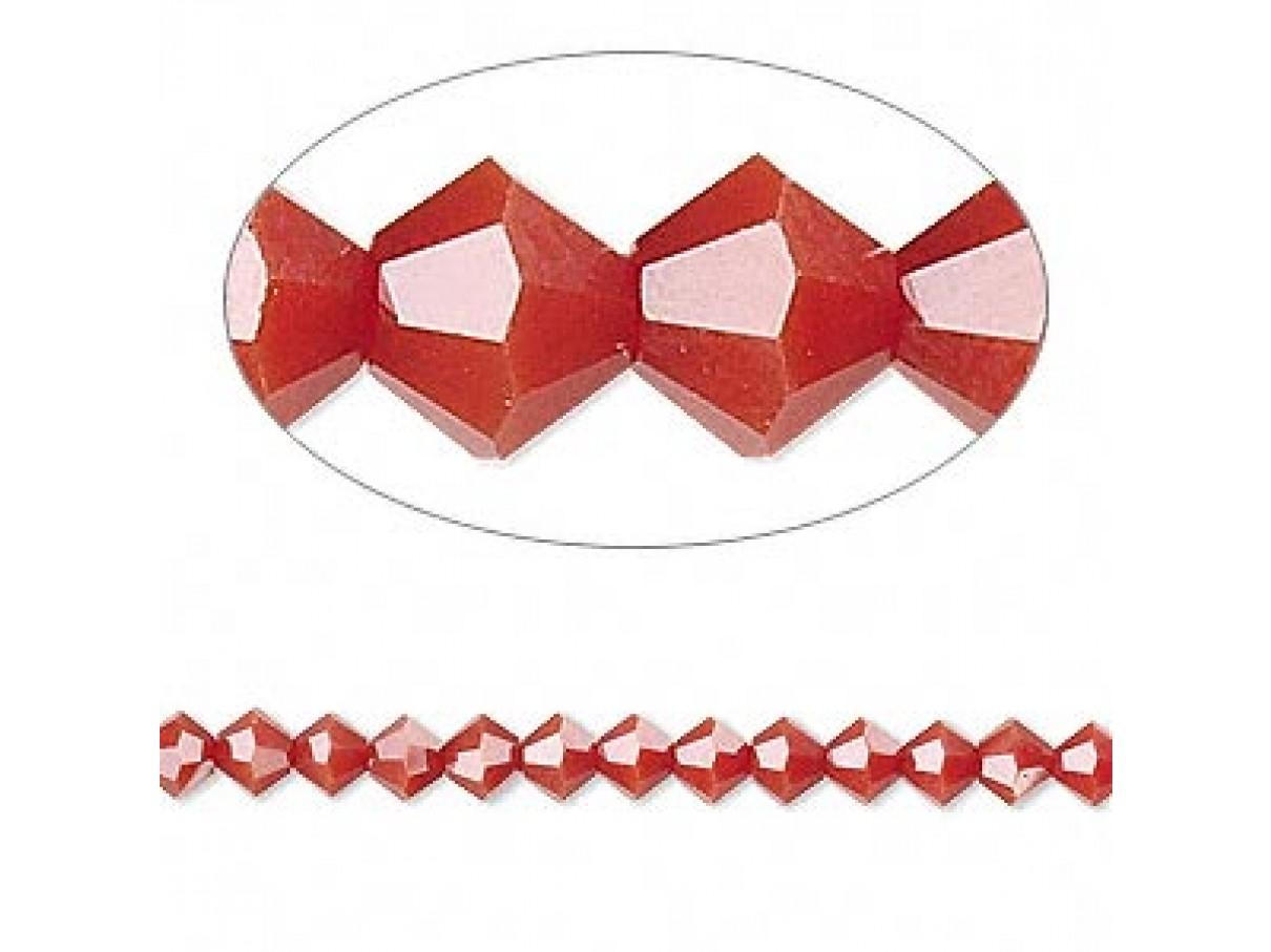 Swarovski crystal 4mm bicone, dark red coral, 10 stk