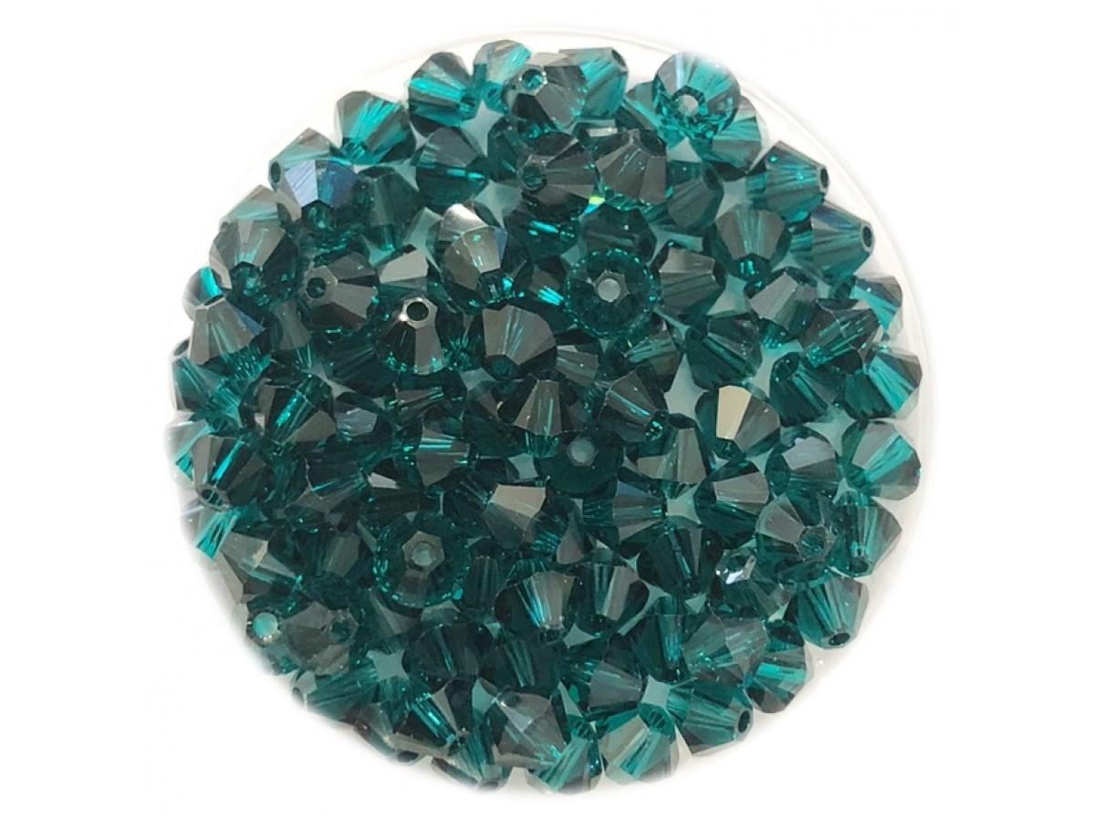Swarovski crystal 4mm bicone, emerald, 10 stk